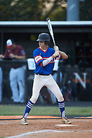 Ty Staz (5) of Mooresville Post 66 at bat against Kannapolis Post 115 during an American Legion baseball game at Northwest Cabarrus High School on May 30, 2019 in Concord, North Carolina. Mooresville Post 66 defeated Kannapolis Post 115 4-3. (Brian Westerholt/Four Seam Images)
