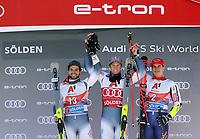 27th October 2019; Soelden, Austria; Mens FIS World Cup skiing, giant slalom; World Cup Giant Slalom for Men Ski Opening event podium of winners Mathieu Faivre FRA , Alexis Pinturault FRA  and Zan Kranjec SLO