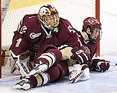 Cory Schneider, Mike Brennan - The Boston University Terriers defeated the Boston College Eagles 2-1 in overtime in the March 18, 2006 Hockey East Final at the TD Banknorth Garden in Boston, MA.