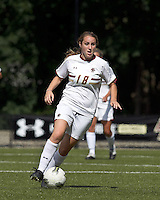 Boston College midfielder Patrice Vettori (18) brings the ball forward. Boston College defeated University of Virginia, 2-0, at the Newton Soccer Field, on September 18, 2011.