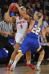 SIOUX FALLS, SD - MARCH 8:  Jasmine Trimboli #5 of South Dakota shields the ball from Chloe Cornemann #22 of South Dakota State during the women's championship game of the 2016 Summit League Tournament at the Denny Sanford Premier Center in Sioux Falls, S.D. (Photo by Dick Carlson/Inertia)