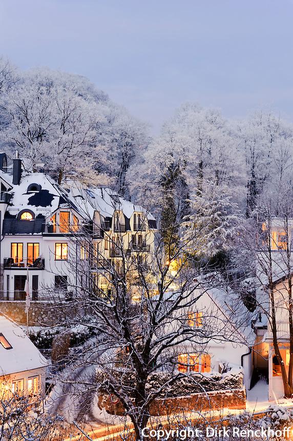 Treppenviertel im Schnee in Hamburg-Blankenese, Deutschland