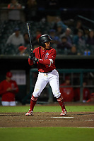 Inland Empire 66ers second baseman Jahmai Jones (8) at bat during a California League game against the Lancaster JetHawks at San Manuel Stadium on May 18, 2018 in San Bernardino, California. Lancaster defeated Inland Empire 5-3. (Zachary Lucy/Four Seam Images)