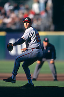 SAN FRANCISCO, CA - John Smoltz of the Atlanta Braves pitches during a game against the San Francisco Giants at Candlestick Park in San Francisco, California in 1998. Photo by Brad Mangin