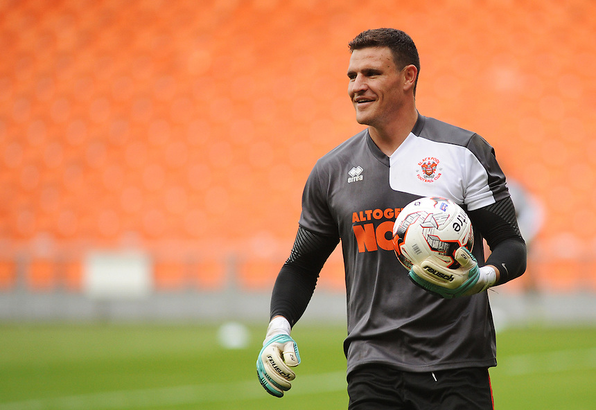 Blackpool's Kyle Letheren during the pre-match warm-up <br /> <br /> Photographer Kevin Barnes/CameraSport<br /> <br /> Football - The Football League Sky Bet League One - Blackpool v Burton Albion - Tuesday 18th August 2015 - Bloomfield Road - Blackpool<br /> <br /> &copy; CameraSport - 43 Linden Ave. Countesthorpe. Leicester. England. LE8 5PG - Tel: +44 (0) 116 277 4147 - admin@camerasport.com - www.camerasport.com