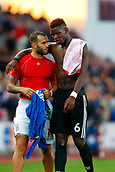 9th September 2017, bet365 Stadium, Stoke-on-Trent, England; EPL Premier League football, Stoke City versus Manchester United; Paul Pogba of Manchester United talks to Jese of Stoke City after the game