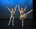 Elmhurst Ballet Company, the graduate company from Elmhurst Ballet School, perform in the dress rehearsal of 'Synergy' at the Lilian Baylis Studio, Sadler's Wells. The piece shown is: Bluebird Pas De Deux from The Sleeping Beauty, choreographed by Marius Petipa, Lev Ivanov and Sir Peter Wright. The dancers are: Maisie Butler (Princess Florine) William Mitchell (Bluebird).