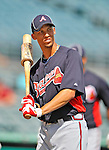 13 March 2012: Atlanta Braves infielder Andrelton Simmons awaits his turn in the batting cage prior to a Spring Training game against the Miami Marlins at Roger Dean Stadium in Jupiter, Florida. The two teams battled to a 2-2 tie playing 10 innings of Grapefruit League action. Mandatory Credit: Ed Wolfstein Photo