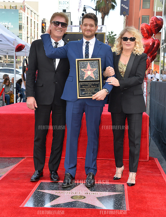 LOS ANGELES, CA. November 16, 2018: Michael Buble, Lewis Buble &amp; Amber Santaga Buble at the Hollywood Walk of Fame Star Ceremony honoring singer Michael Bubl&eacute;.<br /> Pictures: Paul Smith/Featureflash