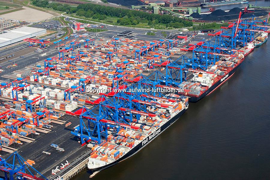 4415/CTA:EUROPA, DEUTSCHLAND, HAMBURG 21.05.2005: CTA, Container Terminal Altenwerder, Containerschiff, Hapag Lloyd, P&0 Nedlloyd , Containerverladung, Laden, Loeschen Container,  Lager, Logistik, automatischer Betrieb, menschenleer, Container Hafen Hamburg, Luftbild, Luftansicht