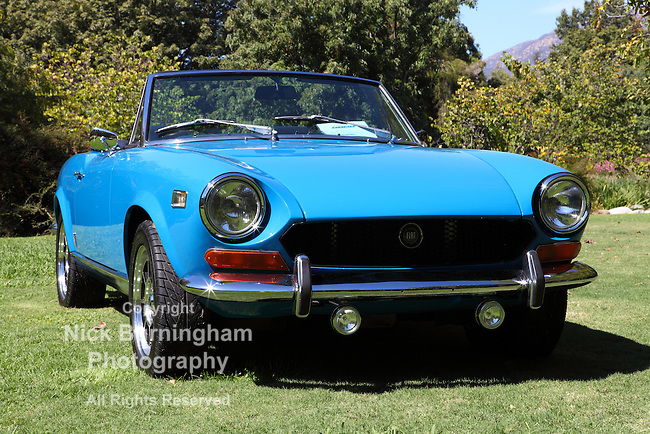 ARCADIA, CALIFORNIA, USA, SEPTEMBER 6, 2013. Spyders in the Garden car show at the Los Angeles Arboretum on September 6, 2013. The V6 158 HP Fiat Dino Spider was introduced in 1966 in Turin