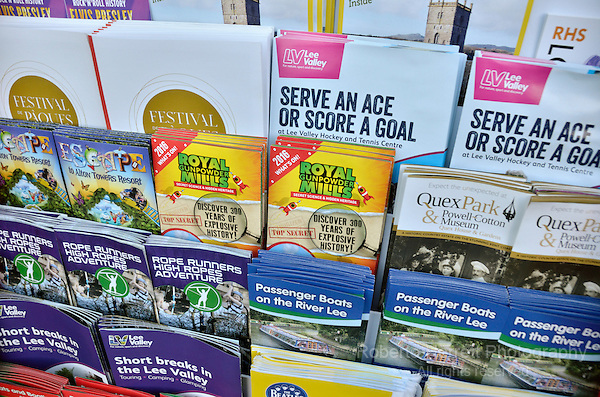 UK tourist leaflets display.