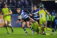 Darren Atkins of Bath Rugby is tackled to ground. Anglo-Welsh Cup match, between Bath Rugby and Leicester Tigers on November 4, 2016 at the Recreation Ground in Bath, England. Photo by: Patrick Khachfe / Onside Images