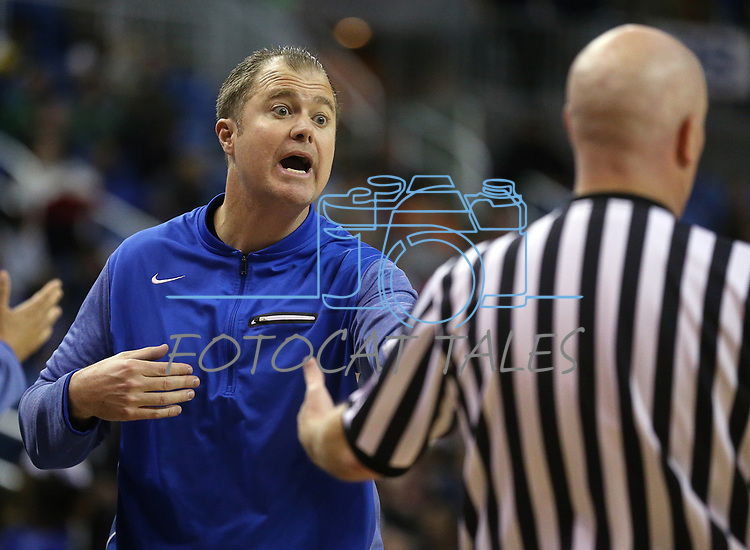 Bishop Gorman head coach Grant Rice works the 4A NIAA state basketball championship game against Bishop Manogue in Reno, Nev., on Friday, Feb. 23, 2018. Gorman won 62-41. Cathleen Allison/Las Vegas Review-Journal