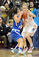 Archbishop Wood's Claire Bassetti #44 defends against Villa Maria's Anna Sweny #3 in the first quarter of the girls basketball PIAA Class AAA state championship game Saturday March 19, 2016 at the Giant Center in Hershey, Pennsylvania (Photo By William Thomas Cain)