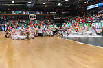 10.03.2019, RASTA Dome 2.0, VECHTA, GER, easycredit-bbl, RASTA Vechta vs  FC Bayern M&uuml;nchen, im Bild<br /> <br /> RASTA Vechta feiert den Sieg gegen den Tabellenf&uuml;hrer M&uuml;nchen ausgiebig im RASTA Dome <br /> <br /> Luc van Slooten (Rasta Vechta #11)<br /> Robin Christin (Rasta Vechta #33)<br /> Clint Chapman (Rasta Vechta #12)<br /> T.J. Bray (USA) (Rasta Vechta #05)<br /> <br /> <br /> Foto &copy; nordphoto / Kokenge