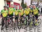 Members of the Chain Gang Cycle Club with Sean Kelly at the Stephen Roche Atlantic Challenge charity cycle in Ennistymon, Co Clare on Saturday From Left Francisco Silvestre, Donagh O'Regan, Bernard Murphy, John F O'Sullivan, Derry O'Sullivan and Joe Bartlett.