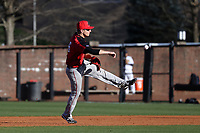 GREENSBORO, NC - FEBRUARY 25: Justin Guerrera #6 of Fairfield University throws to first base for an out during a game between Fairfield and UNC Greensboro at UNCG Baseball Stadium on February 25, 2020 in Greensboro, North Carolina.