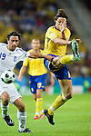 Zlatan Ibrahimovic and Paraskevas Antzas at Euro 2008 Greece-Sweden 06102008, Salzburg, Austria