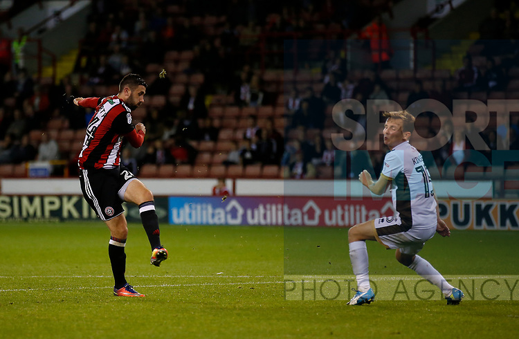 Daniel Lafferty of Sheffield Utd scores the third goal during the Carabao Cup First Round match at Bramall Lane Stadium, Sheffield. Picture date: August 9th 2017. Pic credit should read: Simon Bellis/Sportimage