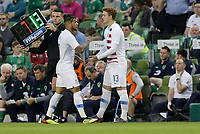 Dublin, Ireland - Saturday June 02, 2018: DeAndre Yedlin, Josh Sargent during an international friendly match between the men's national teams of the United States (USA) and Republic of Ireland (IRE) at Aviva Stadium.