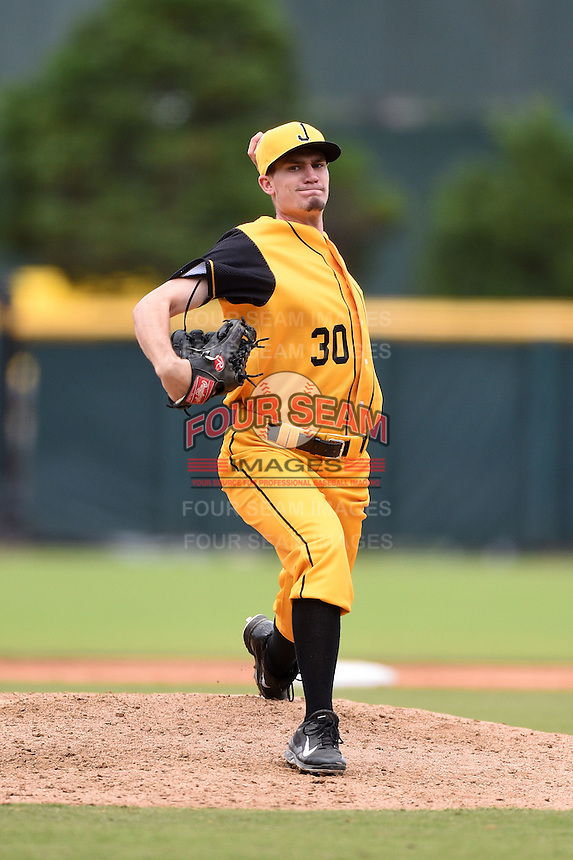Jacksonville Suns pitcher Andrew Heaney (30) delivers a pitch during a game against the Pensacola Blue Wahoos at Bragan Field at the Baseball Grounds of Jacksonville on April 20, 2014 in Jacksonville, Florida.  (Mike Janes/Four Seam Images)