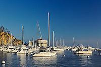 Boats anchored in Catalina Harbor, Catalina Island, California
