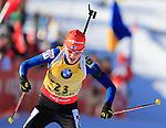 Kaisa Makarainen competes during the women sprint race of the biathlon World Cup on December 12, 2014 in Hochfilzen, Austria.