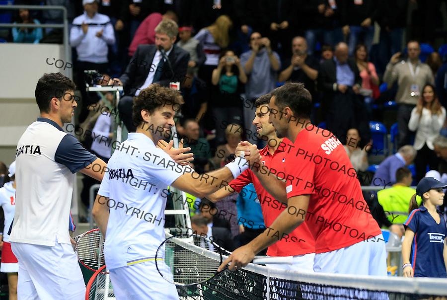 Davis Cup 2014 first round<br /> Srbija v Hrvatska<br /> Novak Djokovic and Nenad Zimonjic-Serbia v Franko Skugor and Marin Draganja doubles dublovi<br /> Kraljevo, 07.03.2015.<br /> Foto: Srdjan Stevanovic/Starsportphoto.com&copy;