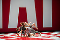 London, UK. 01.10.2013. LA Dance Project come to Sadler's Wells with a mixed bill from Benjamin Millepied, the company's founder, Peck and Forsythe. This piece is REFLECTIONS by Benjamin Millepied. Dancers are: Julia Eichten, Charlie Hodges, Morgan Lugo, Nathan Makolandra and Amanda Wells. Picture shows: Nathan Makalandro, Amanda Wells, Morgan Lugo and Julia Eichten (top). Photograph © Jane Hobson.