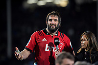 Crusaders captain Sam Whitelock is interviewed after the 2019 Super Rugby final between the Crusaders and Jaguares at Orangetheory Stadium in Christchurch, New Zealand on Saturday, 6 July 2019. Photo: Dave Lintott / lintottphoto.co.nz