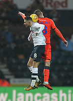 Preston North End's Alan Browne jumps with Millwall's Ben Thompson<br /> <br /> Photographer Mick Walker/CameraSport<br /> <br /> The EFL Sky Bet Championship -  Preston North End v Millwall - Saturday 15th December 2018 - Deepdale-Preston<br /> <br /> World Copyright &copy; 2018 CameraSport. All rights reserved. 43 Linden Ave. Countesthorpe. Leicester. England. LE8 5PG - Tel: +44 (0) 116 277 4147 - admin@camerasport.com - www.camerasport.com