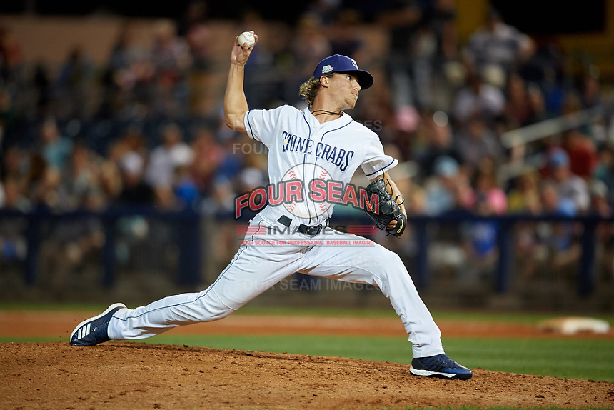 Charlotte Stone Crabs relief pitcher Chandler Raiden (25) during a Florida State League game against the Fort Myers Miracle on April 6, 2019 at Charlotte Sports Park in Port Charlotte, Florida.  Fort Myers defeated Charlotte 7-4.  (Mike Janes/Four Seam Images)