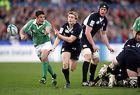 Scotland scrum half Ross Samson gets the ball away during the Division A clash in the U19 World Championship at Ravenhill.