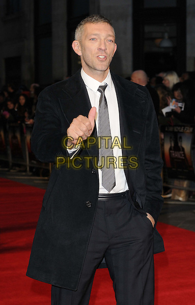 Vincent Cassel.'Trance' World premiere held at Odeon West End, London, England..19th March 2013.half length black suit coat jacket white shirt grey gray tie hand arm thumb up mouth open in  pocket .CAP/CAN.©Can Nguyen/Capital Pictures.