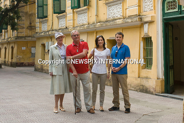 """The Danish Royal Family on the first day of their State Visit to the Socialist Republic of Vietnam. Vietnam is the first Royal visit the Danish Royal Family has taken together.Queen Margrethe, The Prince Consort Henrik, Crown Prince Fredrik and Crown Princess Mary visit the childhood house of The Prince Consort Henrik followed by a cyclo tour of the capital Hanoi, after which Prince Consort Henrik and Crown Prince Fredrik erected a plaque at St Joseph's Cathedral. Hanoi, Vietnam_01/11/2009..Mandatory Photo Credit: ©Dias/Newspix International..**ALL FEES PAYABLE TO: """"NEWSPIX INTERNATIONAL""""**..PHOTO CREDIT MANDATORY!!: NEWSPIX INTERNATIONAL(Failure to credit will incur a surcharge of 100% of reproduction fees)..IMMEDIATE CONFIRMATION OF USAGE REQUIRED:.Newspix International, 31 Chinnery Hill, Bishop's Stortford, ENGLAND CM23 3PS.Tel:+441279 324672  ; Fax: +441279656877.Mobile:  0777568 1153.e-mail: info@newspixinternational.co.uk"""
