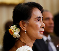 State Counsellor Aung San Suu Kyi of Myanmar (Burma) during a bilateral meeting with United States President Barack Obama in the Oval Office of the White House on September 14, 2016 in Washington, DC. <br /> Credit: Aude Guerrucci / Pool via CNP /MediaPunch