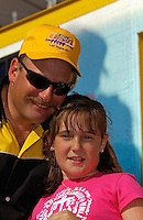 "APBA Gold Cup, ,Detroit River, Detroit, Michigan, USA .14 July,2002 .Copyright©F.Peirce Williams 2002.""Miss DYC"" driver Mike Weber with daughter and future driver Alexis...F.Peirce Williams .photography.P.O.Box 455  Eaton,OH 45320 USA.p: 317.358.7326  e: fpwp@mac.com"