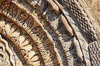 Detail of the archivolts of the  side portal of the Basilica Church of Santa Maria Maggiore, Tuscania