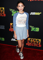 "CENTURY CITY, CA, USA - SEPTEMBER 27: Rowan Blanchard arrives at the Los Angeles Screening Of Disney XD's ""Star Wars Rebels: Spark Of Rebellion"" held at the AMC Century City 15 Theatre on September 27, 2014 in Century City, California, United States. (Photo by Celebrity Monitor)"