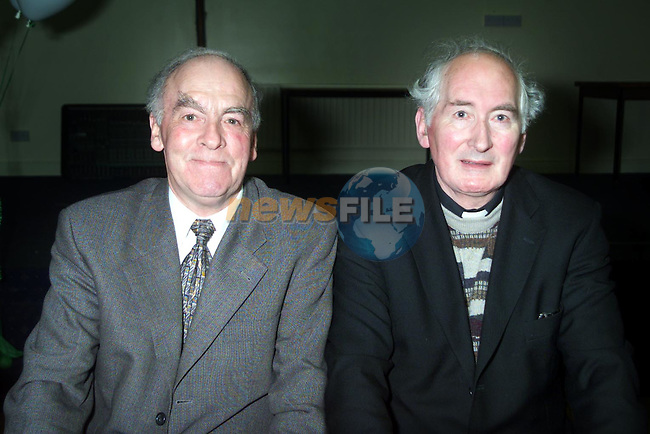 Gene Mulholland, treasurer Termonfeckin G.F.C. and Fr. Sean Quinn, P.P. Termonfeckin and Club President at the Termonfeckin G.F.C. Social in the Glenside Hotel..Picture Paul Mohan Newsfile