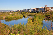 Playa Vista next to the Ballona Wetlands. The Ballona Wetlands is a protected area near Marina Del Rey and Playa Del Rey, and is one of the last significant wetlands area in the Los Angeles basin. Development and the  concreting over of the Ballona Creek in the 1930's for flood control purposes, reduced the 2100 acre wetlands to its present size of about 700 acres. Los Angeles, California, USA