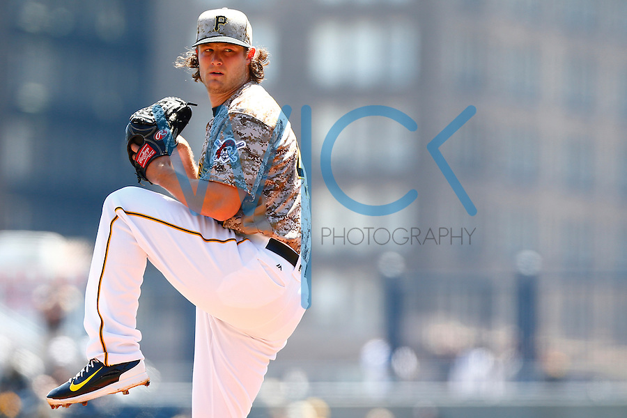 Gerrit Cole #45 of the Pittsburgh Pirates pitches against the Detroit Tigers during the game at PNC Park in Pittsburgh, Pennsylvania on April 14, 2016. (Photo by Jared Wickerham / DKPS)