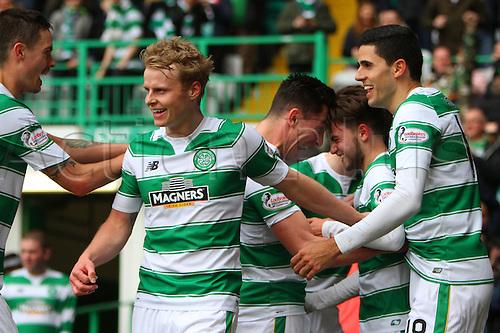 02.04.2016. Celtic Park, Glasgow, Scotland. Scottish Football Premiership Celtic versus Hearts. Patrick Roberts celebrates his first goal for Celtic
