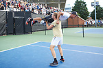 Bar Botzer of the Wake Forest Demon Deacons is spun around by teammate Alan Gadjiev following his win at #4 singles over the Ohio State Buckeyes during the 2018 NCAA Men's Tennis Championship at the Wake Forest Tennis Center on May 22, 2018 in Winston-Salem, North Carolina.  The Demon Deacons defeated the Buckeyes 4-2. (Brian Westerholt/Sports On Film)