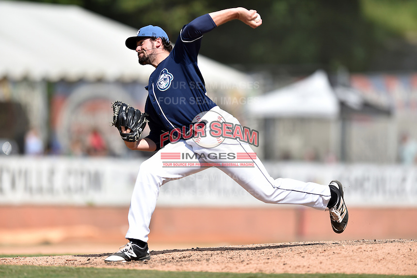 Asheville Tourists pitcher Ben Bowden (35) delivers a pitch during a game against the Hagerstown Suns and the  at McCormick Field on September 5, 2016 in Asheville, North Carolina. The Suns defeated the Tourists 9-5. (Tony Farlow/Four Seam Images)