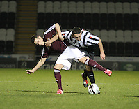 Jasmie Walker (left) and John McGinn tussle in the St Mirren v Heart of Midlothian Clydesdale Bank Scottish Premier League U20 match played at St Mirren Park, Paisley on 6.11.12.