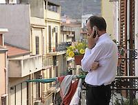 Partinico: the anti-mafia journalist Pino Maniaci, who runs the tv station TeleJato in Sicily. <br /> Partinico: il giornalista antimafia Pino Maniaci, direttore della emittente televisiva Telejato in Sicilia.