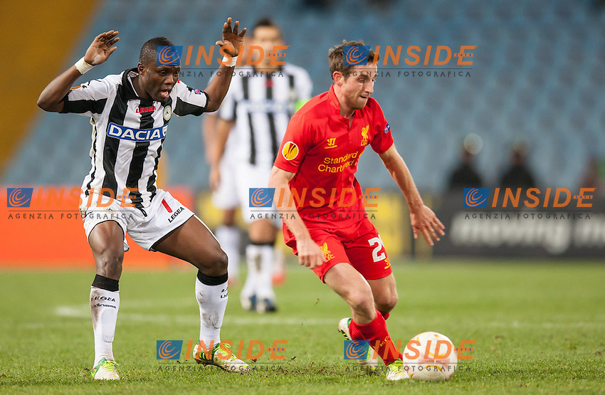 06.12.2012, Stadio Friuli, Udine, ITA, UEFA EL, Udinese Calcio vs FC Liverpool, Gruppe A, im Bild Emmanuel Agyemang (# 07, Udinese Calcio), Joe Allen (# 24, Liverpool FC) // during the UEFA Europa League group A match between Udinese Calcio and Liverpool FC at the Stadio Friuli, Udinese, Italy on 2012/12/06. EXPA Pictures © 2012, PhotoCredit: EXPA/ Juergen Feichter .Udine 6/12/2012 Stadio Friuli.Football Calcio Europa League 2012/2013.Udinese Vs Liverpool.Foto EXPA/ Juergen Feichter / Insidefoto
