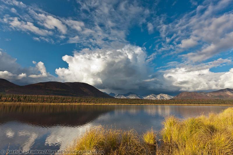 Autumn colors on the tundra and taiga along the Denali highway, tundra pond, Alaska Range mountains, Interior, Alaska.